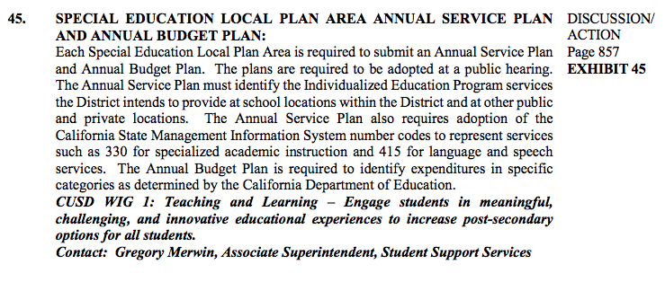 agenda item 45 special education local plan area annual service